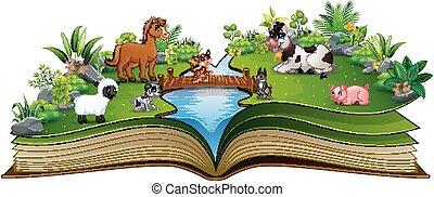 농장, 공원, 책, 열려라, 동물