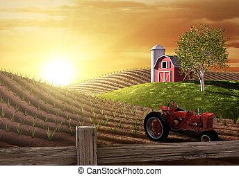 농장, 아침