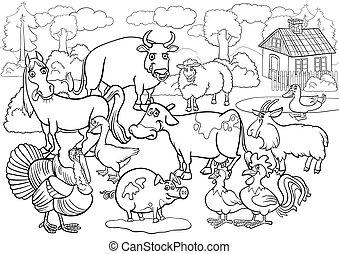 농장, 채색, 동물, 책, 만화