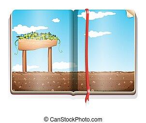 농장, 책, 장면