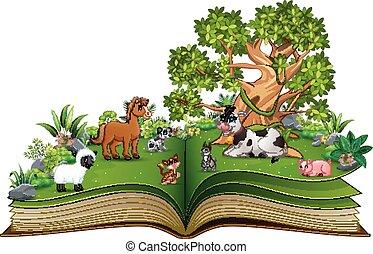 농장, 크게, 공원, 나무, 만화, 책, 동물, 억압되어, 열려라, 노는 것