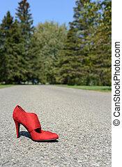 높은, 길, 구두, 발꿈치로 바닥을 구르다, 빨강