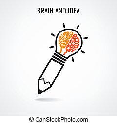 뇌, 창조, 표시, 연필