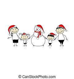 눈사람, 휴일, 크리스마스, 가족, 행복하다