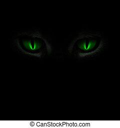 눈, 백열하는 것, 녹색, 고양이, 암흑