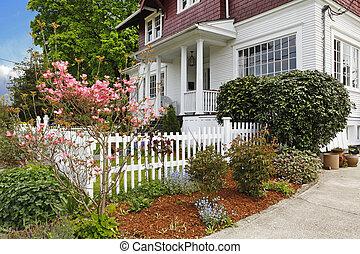 늙은, 고전, 집, 큰, 미국 영어, 장인, exterior.