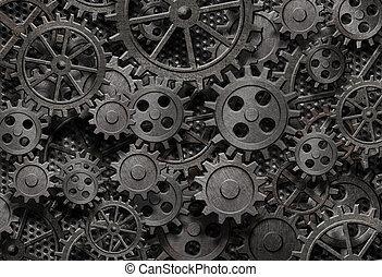 늙은, 많은, 금속, 기계, rusty, 은 분해한다, 은 설치한다, 또는