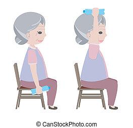 늙은, 물, 운동, 술을 마시는 것, 숙녀, 들