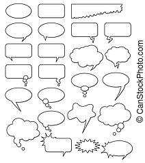 다른, 만화, web., 은 편집한다, 수집, 또는, 형체, 부언하다, 벡터, 원본, 쉬운, size., 무엇이든지, 빈 광주리