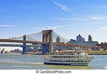 다리, 동쪽, 위의, 부루클린, 나룻배, 강, 맨해튼