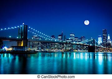 다리, 부루클린, 도시, 요크, 새로운