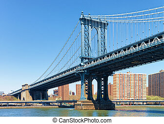 다리, 위의, 강, 맨해튼, 동쪽