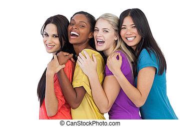 다양한, 웃음, 카메라, 여자, 채택하는 것, 나이 적은 편의