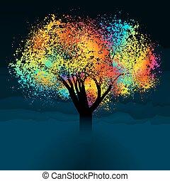 다채로운, 떼어내다, eps, space., 나무., 8, 사본