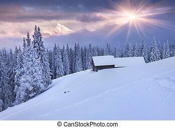 다채로운, 산., 극적인, 해돋이, 겨울, sky.