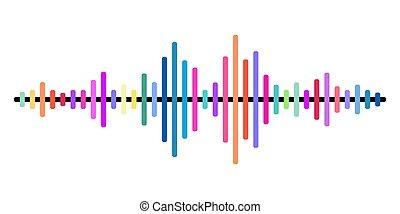 다채로운, 소리, 벡터, 파도, 배경