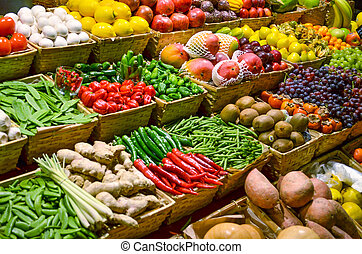 다채로운, 야채, 과일, 여러 가지이다, 과일, 신선한, 시장