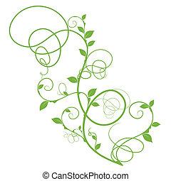 단일의, 꽃의, 벡터, 디자인, 녹색