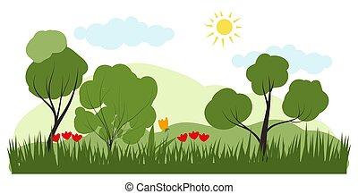 단일의, style., 명란한, 바람 빠진 타이어, 여름, 숲, 꽃, 조경술을 써서 녹화하다, 벡터, 삽화, 유행의