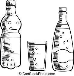 단 것, 소다, 마실 것, 병, 유리