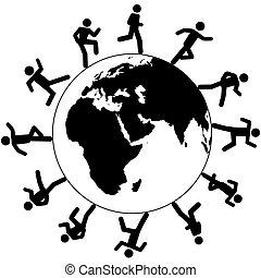 달리다, 약, 사람, 상징, 세계, 국제적이다, 세계