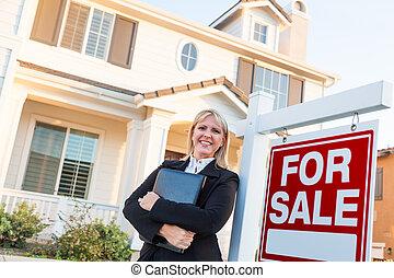 대리인, 재산, 표시, 아름다운, 여성, 실상의, 정면, 판매, 집