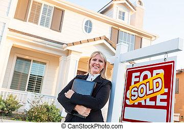 대리인, 재산, 표시, 아름다운, 여성, 실상의, 정면, 팔린다, 판매, 집