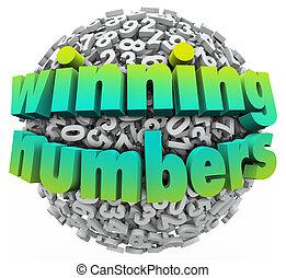 대성공, 공, 추첨, 승리를 얻게 하는, 게임, 수, 내기 경기