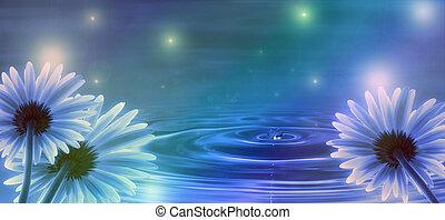 대양, 꽃, 배경, 파도