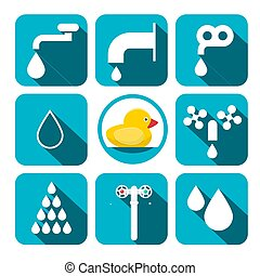 대양, 아이콘, set., 물, 상징, squares., 벡터