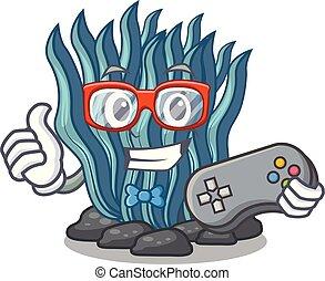 대양, gamer, 바다, 억압되어, 만화, 해초