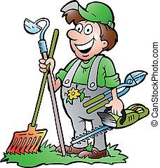 도구, 서 있는, 정원사