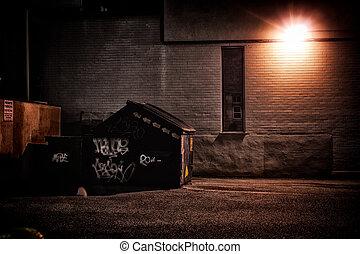 도시의, 골목, 밤