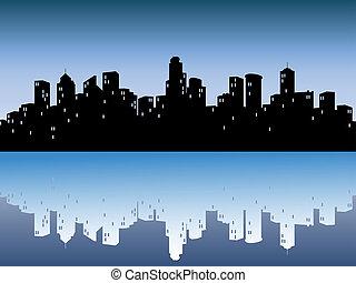 도시의, 지평선, 반사