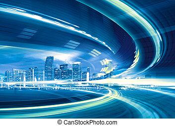 도시의, trails., 다채로운, 도시 빛, 떼어내다, 현대, 도심지, 삽화, 기계의 운전, 운동중의, 속력, 상도