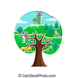 도시, 개념, 나무, 환경, 녹색, 걱정