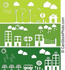 도시, 개념, 녹색, 삽화