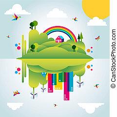 도시, 개념, 봄, 삽화, 녹색, 시간, 행복하다