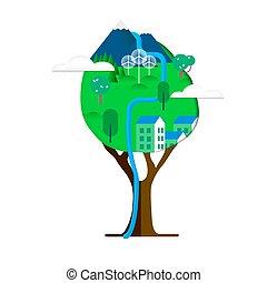 도시, 걱정, 나무, 녹색, 환경, 개념