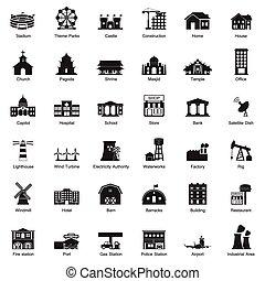 도시, 건물, 세트, 아이콘
