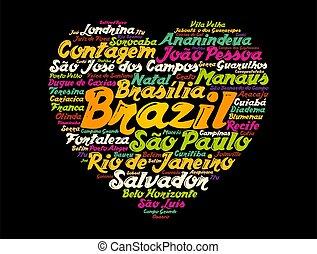 도시, 낱말, 브라질, 구름, 표, 심장