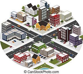 도시, 동일 크기다, 장면, 크게