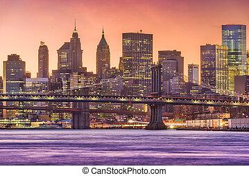 도시, 동쪽, 요크, 도시 풍경, 새로운, 강