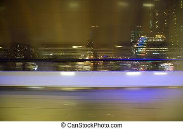 도시, 떼어내다, 창문, blured하게 된다, 밤, 보이는 상태