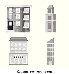 도시, 벡터, 세트, 센터, 해석, 디자인, icon., 주식, illustration.