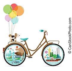 도시, 벡터, 자전거, 녹색