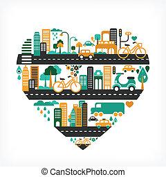 도시, 사랑, 아이콘, 많은, -, 심혼 모양