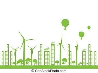 도시, 생태학, 벡터, 녹색의 배경, 조경술을 써서 녹화하다