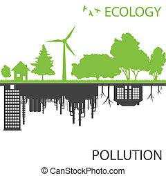 도시, 생태학, 향하여, 벡터, 녹색의 배경, 오염