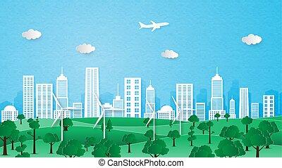 도시, 생태학, concept., 환경, 보존, 조경술을 써서 녹화하다